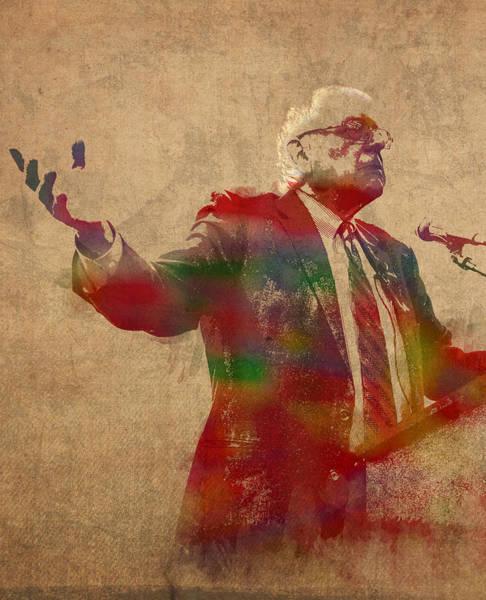 Democrat Mixed Media - Bernie Sanders Watercolor Portrait by Design Turnpike
