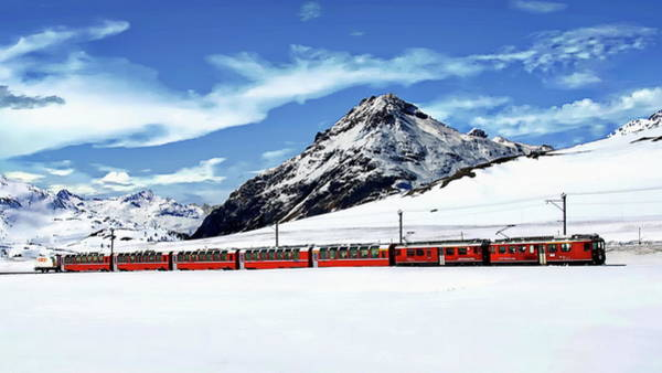 Photograph - Bernina Winter Express by Anthony Dezenzio