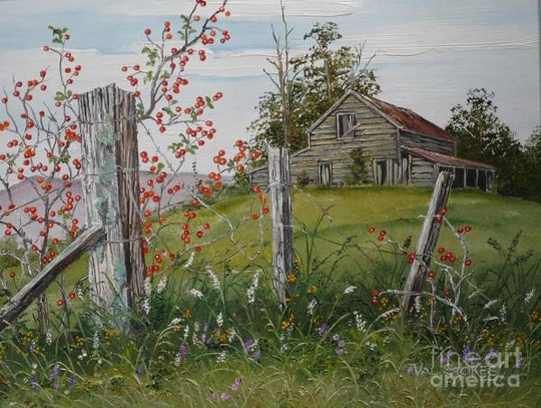 Fencepost Painting - Berry Barn by Val Stokes