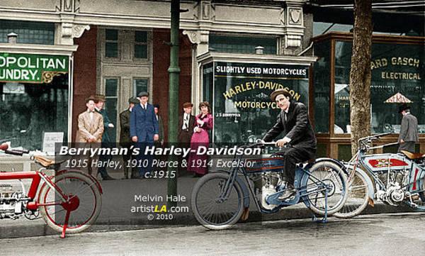 Wall Art - Digital Art - Berryman's Harley Davidson C1914 Featuring A Harley An Excelsior And  Pierce by Melvin Hale - ArtistLA