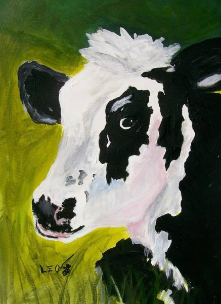 Wall Art - Painting - Bessy The Cow by Leo Gordon
