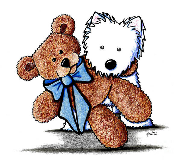 Wall Art - Drawing - Best Buds by Kim Niles