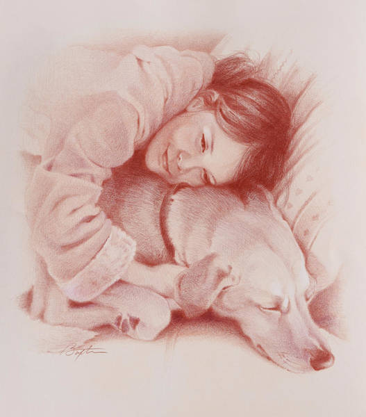 Colored Pencil Drawing Drawing - Best Buds by Todd Baxter