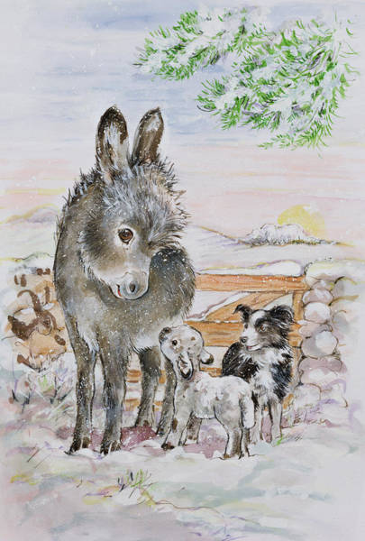 Donkey Painting - Best Friends by Diane Matthes