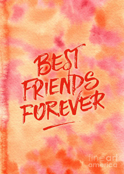 Painting - Best Friends Forever Handpainted Abstract Watercolor Pink Orange by Beverly Claire Kaiya