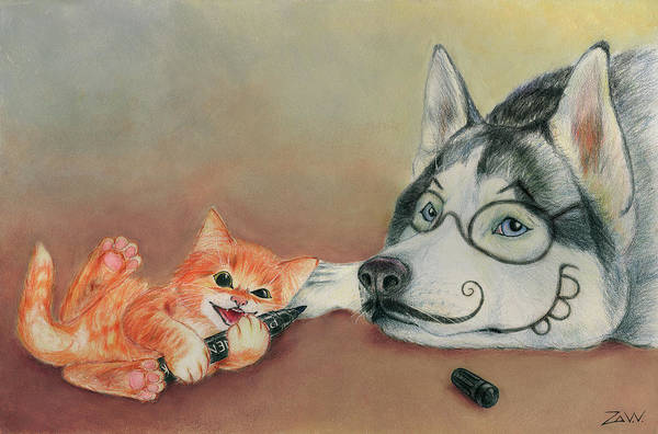 Husky Mixed Media - Best Friends by Slava Zaytsev
