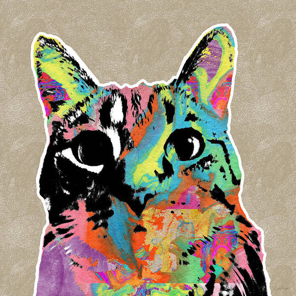 Wall Art - Mixed Media - Best Listener Kitty- Pop Art By Linda Woods by Linda Woods