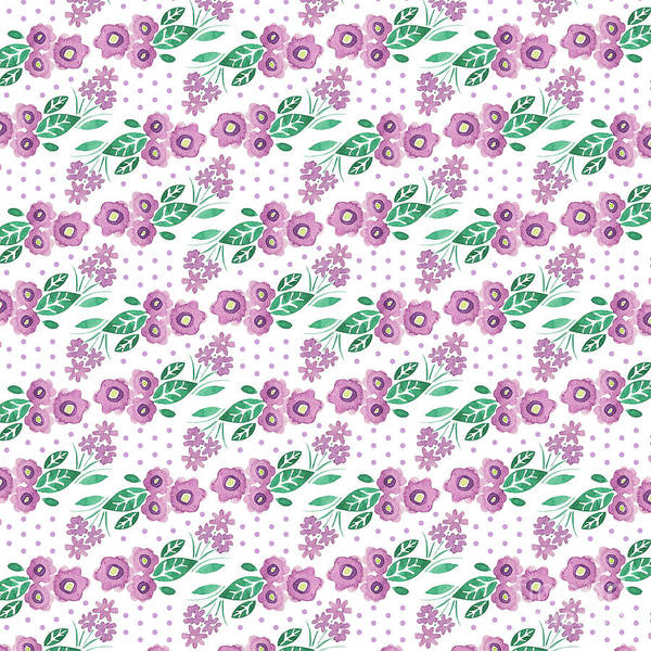 Wall Art - Digital Art - Best Mum Ever Floral Repeat Colourway One Purple White by MGL Meiklejohn Graphics Licensing