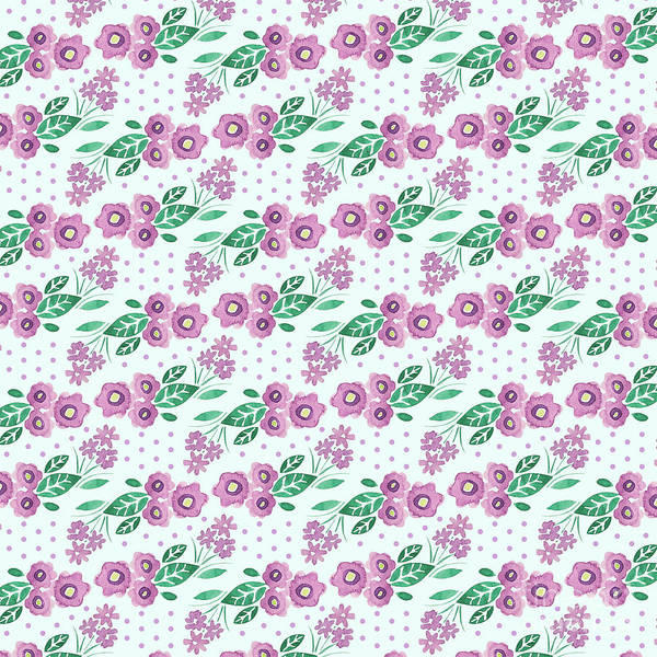 Wall Art - Digital Art - Best Mum Ever Floral Repeat Colourway Two Purple Blue by MGL Meiklejohn Graphics Licensing