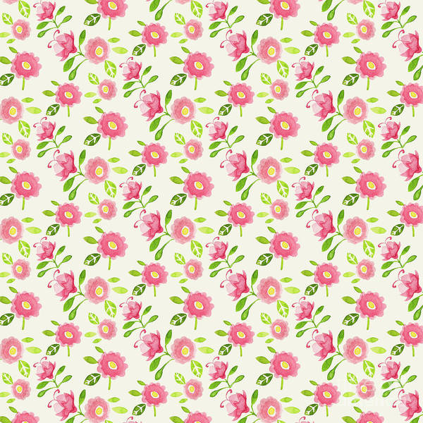Wall Art - Digital Art - Best Mum Ever Floral Repeat Pink Rose On Cream by MGL Meiklejohn Graphics Licensing