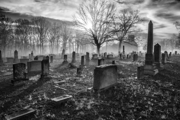 Photograph - Bethany Church Cemetery 07 Bw by Jim Dollar