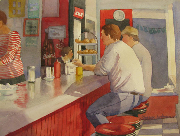 Painting - Bethany's Airport Diner by Sharon Lehman