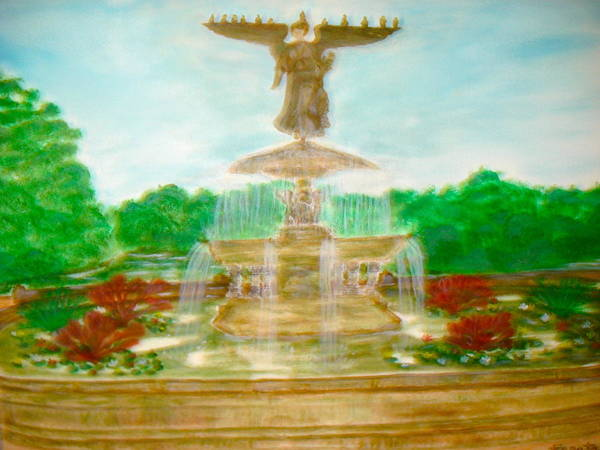 Painting - Bethesda Fountain Central Park by Felix Zapata