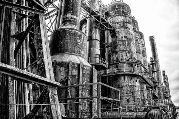 Photograph - Bethlehem In Black And White - Steel Mill by Bill Cannon