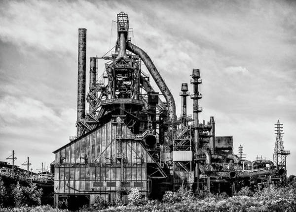 Photograph - Bethlehem Pa Steel Plant  Side View In Black And White by Bill Cannon
