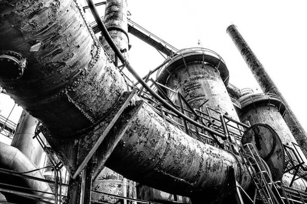 Photograph - Bethlehem Pa - Steel Stacks In Black And White by Bill Cannon