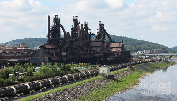 Photograph - Bethlehem Steelstacks Along The Lehigh by Ken Keener