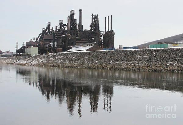 Photograph - Bethlehem Steelstacks In The Lehigh by Ken Keener