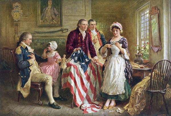Embroidery Painting - Betsy Ross And General George Washington by Jean Leon Gerome Ferris
