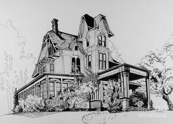 Drawing - Betsy Ross' Home In Dover, N.j. by Alan Johnson