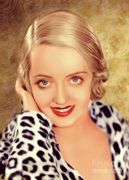 Davis Digital Art - Bette Davis, Actress by Mary Bassett