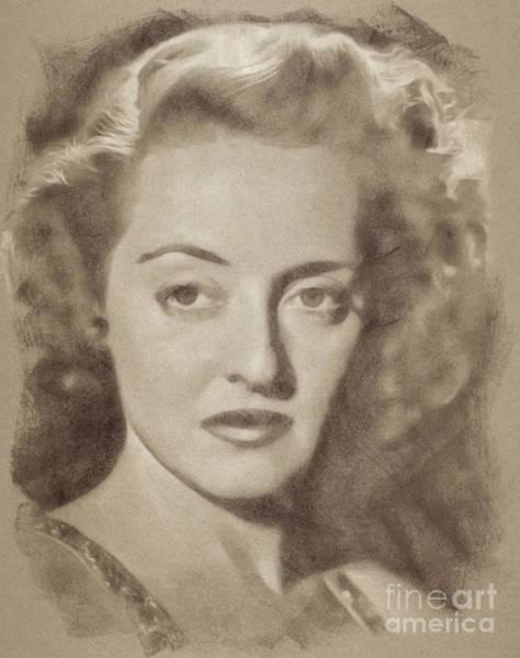 Pinewood Drawing - Bette Davis, Hollywood Legend By John Springfield by John Springfield