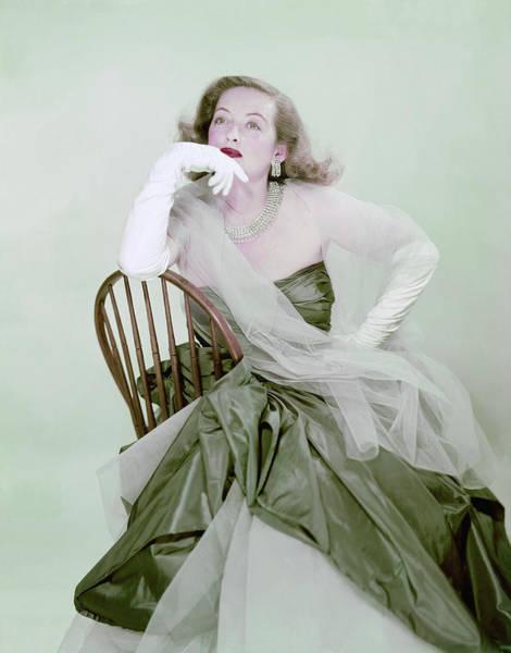 Blue Gown Photograph - Bette Davis In Green by Erwin Blumenfeld