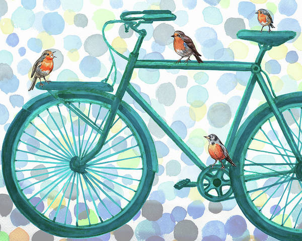 Painting - Better By Bike Birds On Bicycle by Irina Sztukowski
