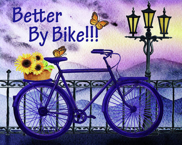 Painting - Better By Bike - Sunflowers And Butterflies  by Irina Sztukowski