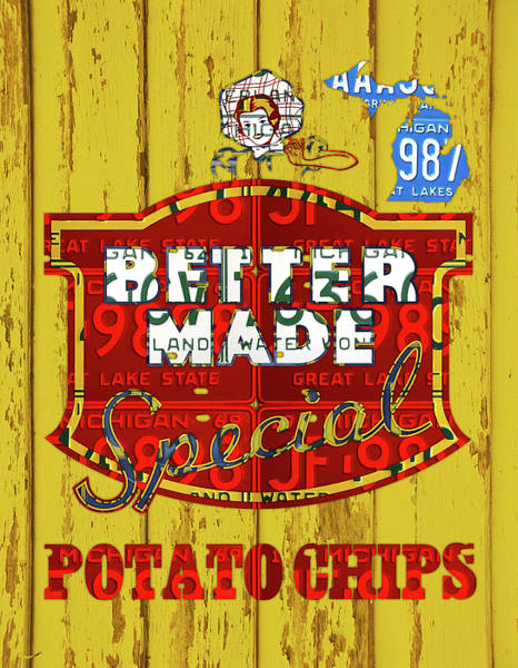 Business Mixed Media - Better Made Potato Chips Michigan License Plate Art by Design Turnpike