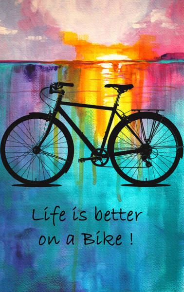 Wall Art - Mixed Media - Better On A Bike by Nancy Merkle