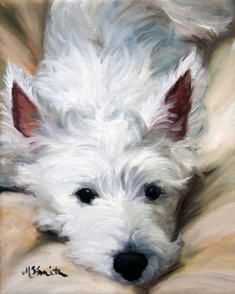 West Highland Painting - Better To Hear You With by Mary Sparrow