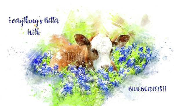 Photograph - Better With Bluebonnets Watercolor by Lynn Bauer