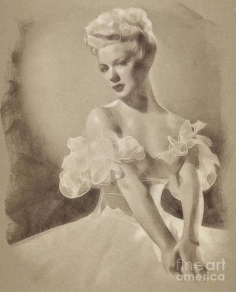 Pinewood Drawing - Betty Hutton, Vintage Actress By John Springfield by John Springfield