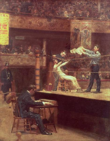 Exertion Wall Art - Painting - Between Rounds by Thomas Cowperthwait Eakins