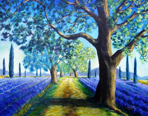 Painting - Between The Lavender Fields by Cristina Stefan