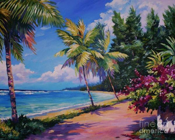 Bahamas Painting - Between The Palms 20x16 by John Clark