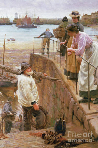 Wall Art - Painting - Between The Tides by Walter Langley
