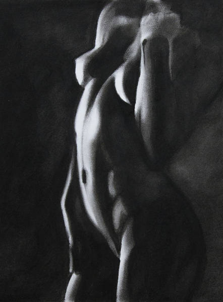Sensual Drawing - Between Worlds - Charcoal by Blue Muse Fine Art