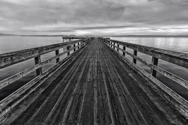 Photograph - Bevan Fishing Pier - Black And White by Mark Kiver