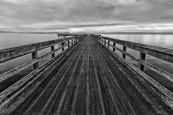 Bevan Fishing Pier - Black And White Art Print