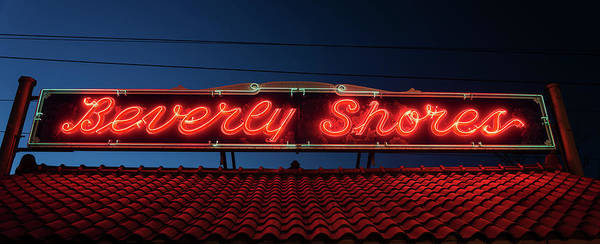 Neon Photograph - Beverly Shores Indiana Depot Neon Sign Panorama by Steve Gadomski