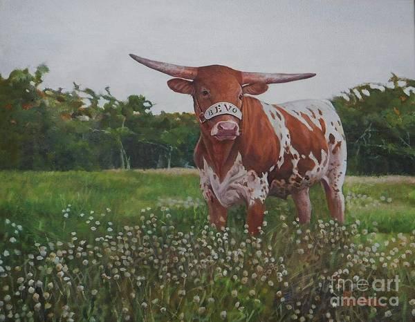 Longhorn Painting - Bevo by Noe Peralez