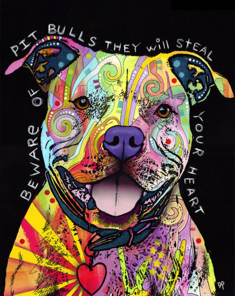 Wall Art - Painting - Beware Of Pit Bulls by Dean Russo Art