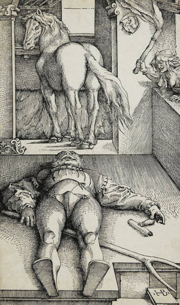Wall Art - Drawing - Bewitched Groom by Hans Baldung Grien