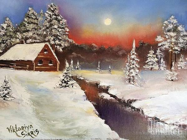 11x14 Painting - Beyond Winter River by Viktoriya Sirris