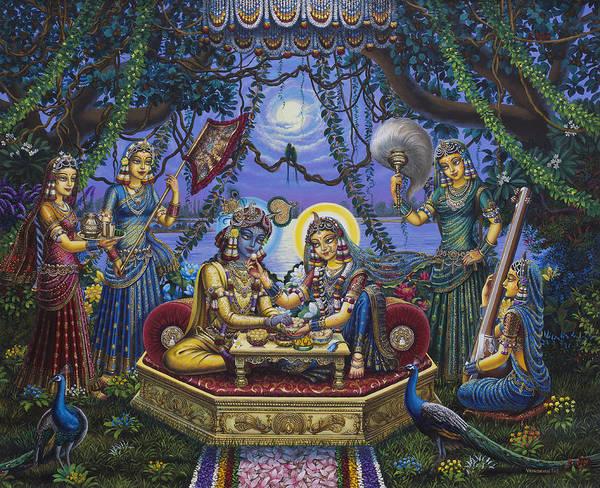Peacocks Painting - Bhojan Lila Radha Krishna by Vrindavan Das