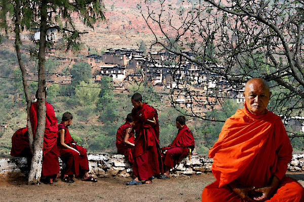 Wall Art - Photograph - Bhutan Monks  by Jim Kuhlmann