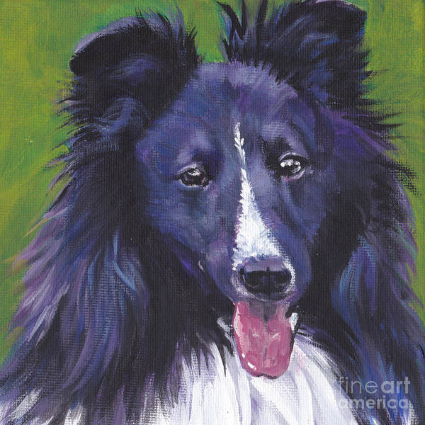 Wall Art - Painting - Bi Black Sheltie by Lee Ann Shepard