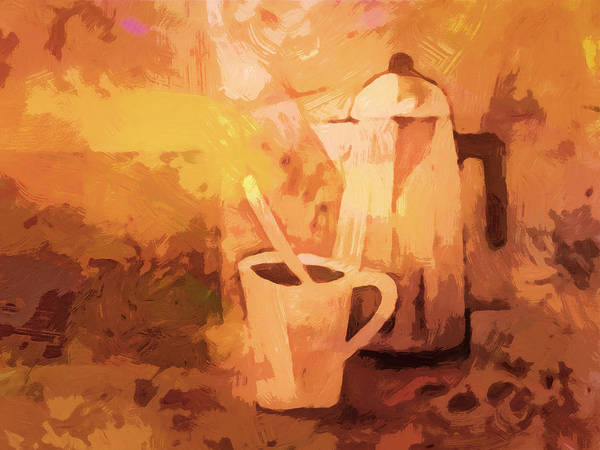 Painting - Bialetti Morning Coffee by Lutz Baar